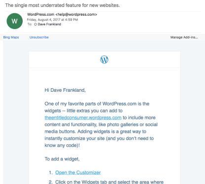Wordpress email re Widgets
